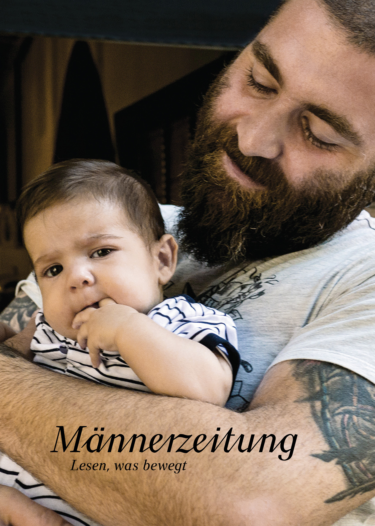 Werbekarte Männerzeitung Vater und Kind