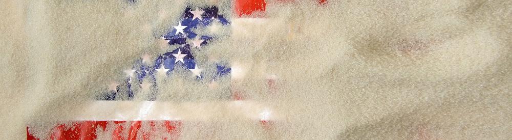 US-Amerikanische Fahne im Sand