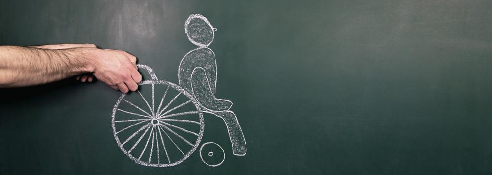 Zeichnung eines Rollstuhlfahrers