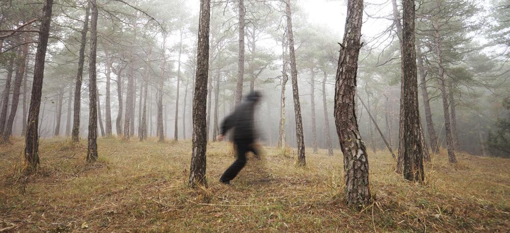 Ein Mann rennt durch einen Wald