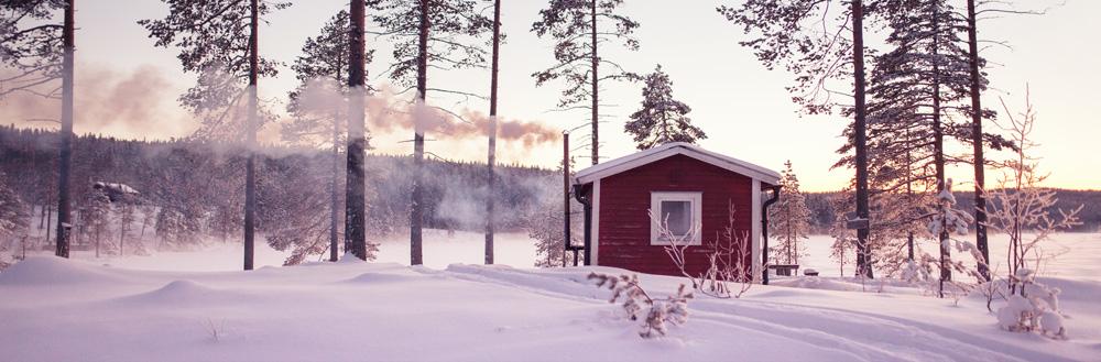Haus im Schneewald