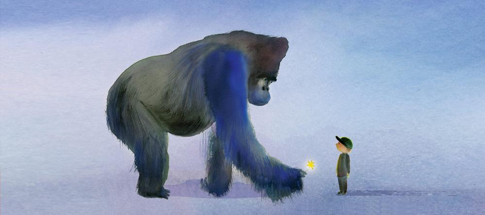 Zeichnung eines Gorillas und eines Jungen
