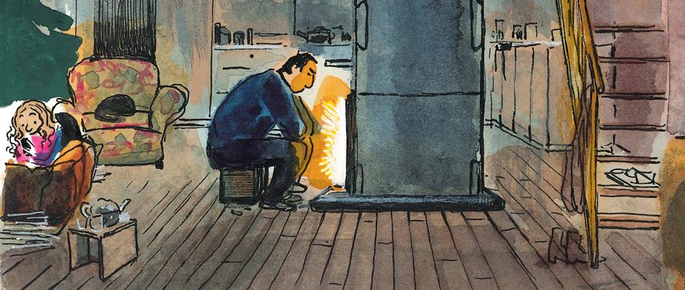Ein Mann sitzt an einem Kamin